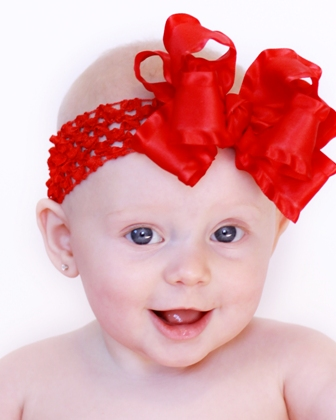 Red Double Ruffle Hair Bow Headband-christmas, july 4th, holiday, infant, baby, headband, dressy