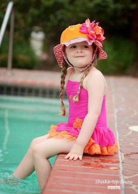 Orange Sun Hat with Orange Raspberry Large Peony-hot pink, orange, sun hat, summer, beach, pool