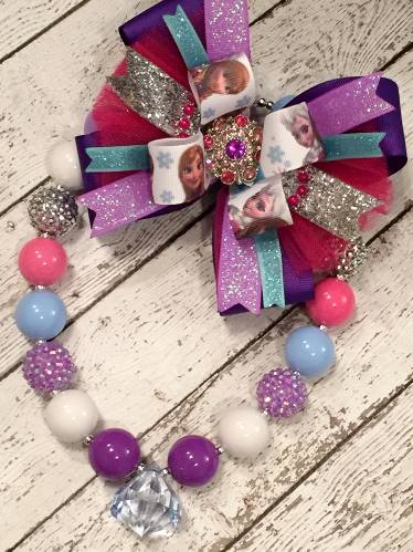 Frozen Princess Chunky Beaded Necklace-lavender, frozen, disney, princess, sparkle, bling, beads, purple, hot, pink, aqua, birthday, party, necklace