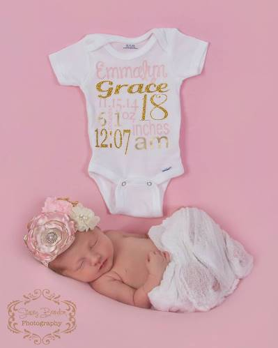 Pink & Gold Newborn Princess Birth Facts Custom Bling Onesie-birth, facts, newborn, infant, baby, girl, light, pink, and, gold, keepsake, onesie, outfit, hospital