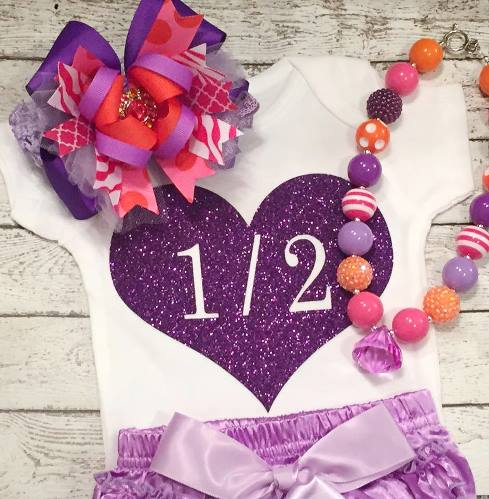 Purple 1/2 Half Birthday Sparkle Heart Glitter Shirt-purple, sparkle, glitter, heart, 1/2, half, birthday, party, six months, 6 months, onesie, infant, baby, girl