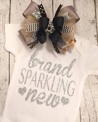 Brand Sparkling New Silver Glitter Onesie Shirt-silver, sparkle, glitter, onesie, shirt, tee, newborn, infant, baby, girl, hearts