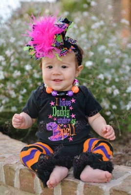 Daddys Under My Spell Halloween Onesie-baby girl, boutique clothing, infant, halloween, daddy, spell, witch, hot, pink, purple, black, orange, chevron