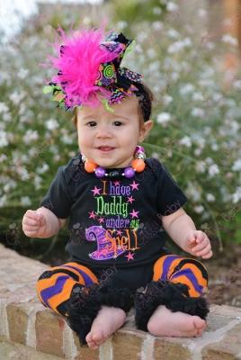 Daddys Under My Spell Halloween Onesie-baby girl, boutique clothing, infant, halloween, daddy, spell, witch, hot, pink, purple, black, orange, chevron