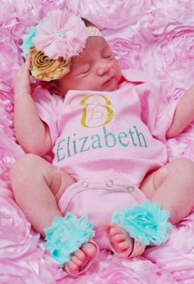 Sparkle Pink Gold & Turquoise Glitter Personal Monogrammed Onesie-light pink, gold, glitter, sparkle, turquoise, monogram, personalized, onesie, outfit, newborn, infant, baby, girl, boutique