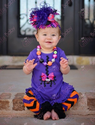 Miss Spider Purple Halloween Ruffle Dress-spider, hot pink, purple, halloween outfit, infant, baby girl, boutique baby clothing, orange, black, chevron, polka dots