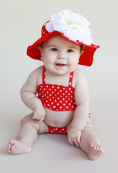 Red Polka Dot White Peony Sun Hat