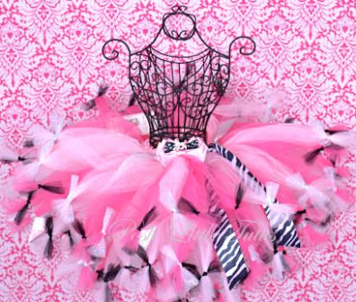 Paris Poodle Pink, Hot Pink, Black Baby & Girls Tutu Skirt