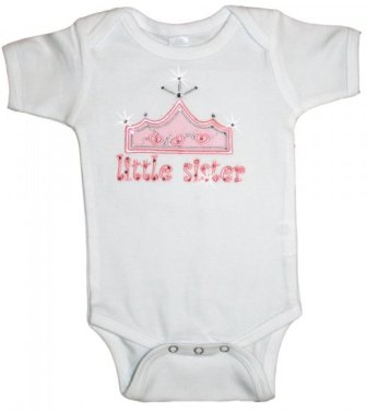 Precious Little Sister Crown Onesie-pink, white, princess, little sister, sisters
