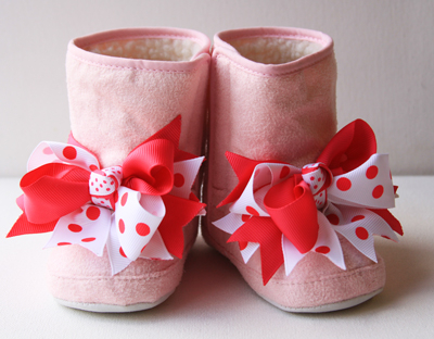 Pink Lined Winter Bow Boots