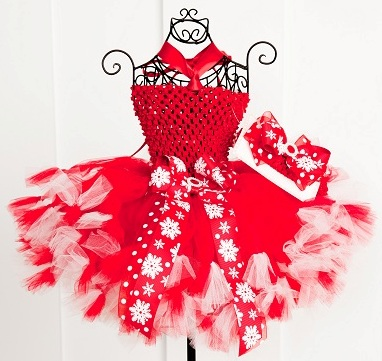 Sweet Holiday Snowflakes in Red Baby Girl Crochet Tutu Dress