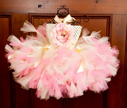 Silk Garden Blooming Pink & Ivory Baby Crochet Tutu Petutti Dress