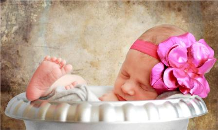 Metallic Candy Pink Rose Flowerette Headband-pink, newborn