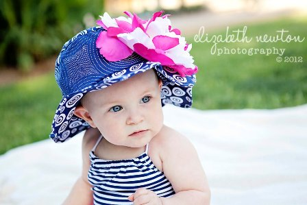 White Raspberry Peony Navy Blue Sun Hat