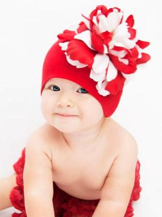 Red & White Peony Cotton Flower Hat-red, red and white, flower hat, valentine, valentine's day, day, christmas, holiday