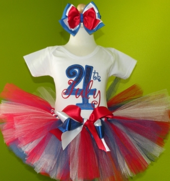 4th of July Birthday Tutu Outfit Set-partrotic, american, red, white and blue, blue, tutu set, infant, baby girl, boutique,4th,fourth