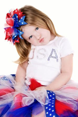 Posh & Patriotic USA Hair Bow Headband-red, white, blue, american, july 4th, 4th of july, infant, baby, girl, boutique, headband, hairbow