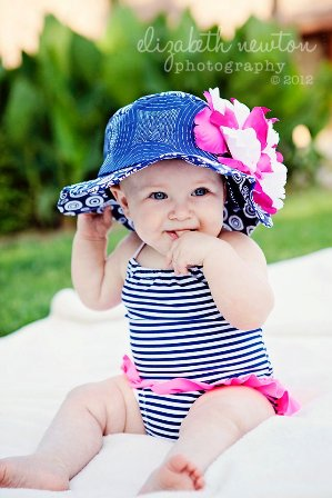 White Raspberry Peony Navy Blue Sun Hat-pink, navy, blue, white, sunhat, sun hat