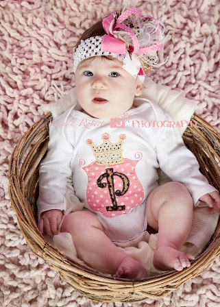 Leopard Pink Polka Dot Princess Onesie & Hair Bow Outfit Set-princess, animal print, leopard, cheetah, crown, tiara, pink and white outfit