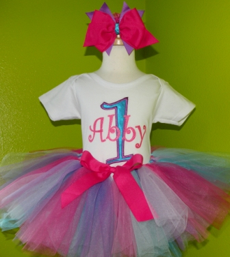 Abby Cadabby Theme First Birthday Tutu Outfit-pink, purple, white, party, turquoise