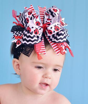 Red Black Chevron Ladybug Over the Top Hair Bow Headband