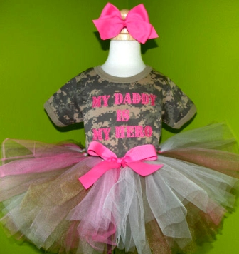 Army Baby Digi Camo Tutu Outfit-daddy, military, pink, green