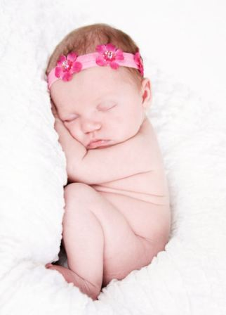 Ava Jeweled Infant Flowerband Hair Bow-infant, baby, headband, newborn, pink, boutique hairbow