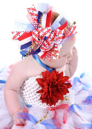 Star Spangled Princess Over-the-Top Hair Bow-red, white, blue, july 4th, stars, stripes, patriotic, hairbow, headband