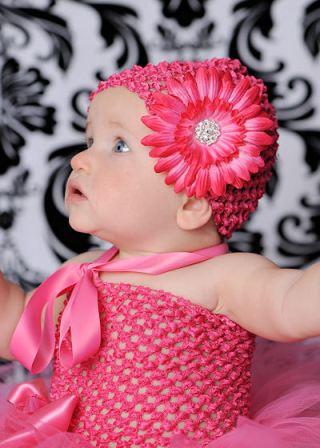 Bellissima Daisy Bloom Crochet Flower Hat-hot pink flower hat, crochet flower hat, infant, baby, girl, boutique