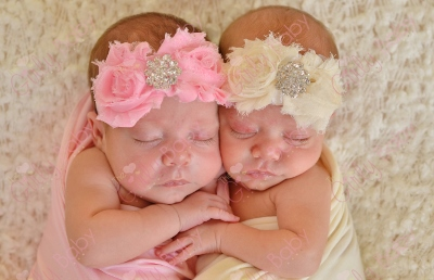 Perfect Princess Starter Set of 2 -  Pink & Cream Elastic Flower Headbands-Chic,Shabby, Flowers,  Bling Center, light pink, pink, ivory, cream, infant, baby, girl, boutique, twins, newborn, baby girl, boutique, flower headband, set