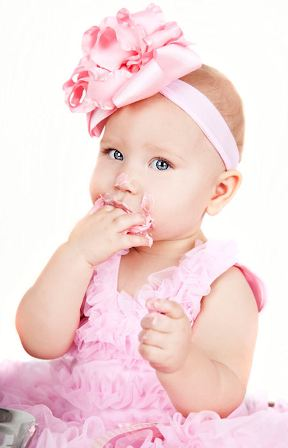 Pink Satin & Ruffles Headband Hair Bow