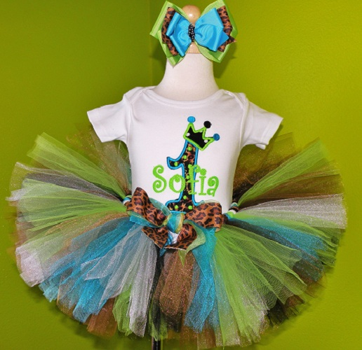 Turquoise Leopard Princess Birthday Tutu Outfit Set-party, cheetah, brown, blue,