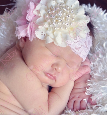 Eyelet Cream Pearls Pink & Lace Flower Couture Headband-light pink, cream, ivory, off white, pearls, bling, feathers, lace, newborn, infant, baby, girl, fancy, dressy, couture, princess, dressy, wedding, christening, baptism