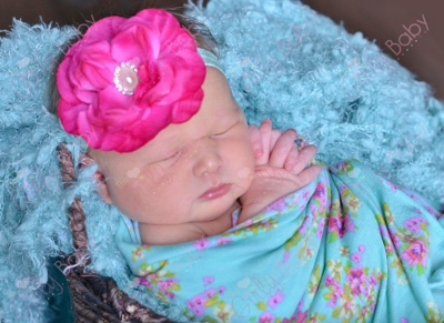 Bright Hot Pink & Aqua Infant Flower Headband-aqua, hot pink, infant, baby, girl, newborn, flower, headband, baby girl, spring, summer