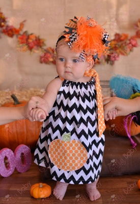 Chevron Pumpkin Halloween Pillowcase Dress-black, orange, pumpkin, dress, outfit, fall, chevron, polka dot, pillowcase, boutique, baby, girl