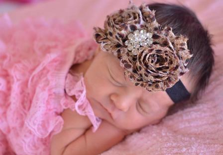 Chic Leopard Bling Elastic Flower Headband-animal print, cheetah, rosette, infant, baby, girl, brown