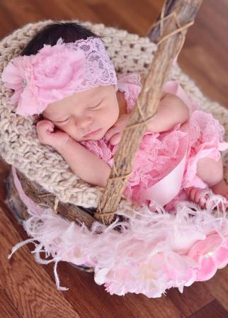 Light Pink Shabby Chic Chiffon Lace Flower Headband-light pink, pink, infant, baby, girl, boutique, newborn