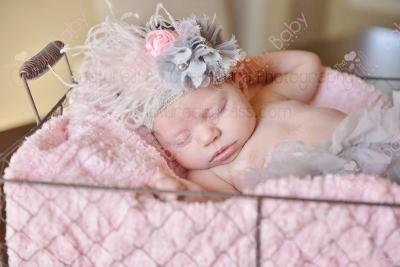 Gray & Light Pink Lace Flower Feather Infant Headband-light pink , grey, gray, infant, baby, girl, newborn, lace, flower, feather, headband, soft