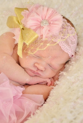 Light Pink & Gold Flower Lace Infant Couture Headband-light pink, shimmer, gold, flower, netting, newborn, infant, baby, girl, boutique, headband, lace ,bow