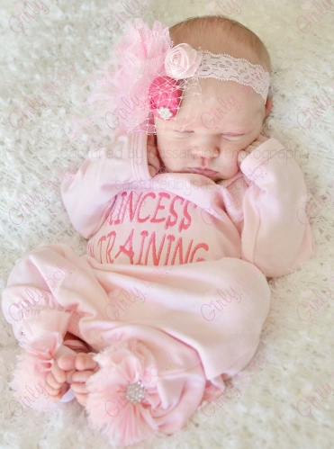 Light Pink Princess in Training Newborn Take Home Gown-light, pink, newborn gown, infant, baby girl, hospital gown, take me home gown, take home gown, princess, newborn princess, princess couture