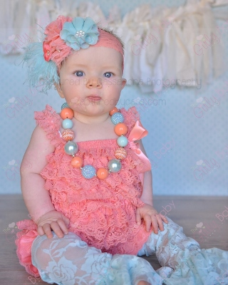 Baby Girls Coral Ruffle Lace Petti Romper-coral, and, cream, ivory, petti romper, lace, pettiromper, romper, newborn, infant, baby, girl, outfit, ruffle, boutique, clothing, baby girl