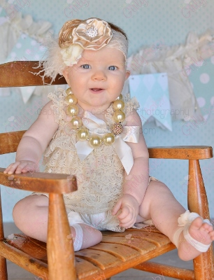 Cream Ruffle Lace Infant Petti Romper-fancy, dressy, gold, cream, ivory, christening, dedication, wedding, newborn, infant, baby, girls clothing, cream and gold, outfit, set, ruffles, lace