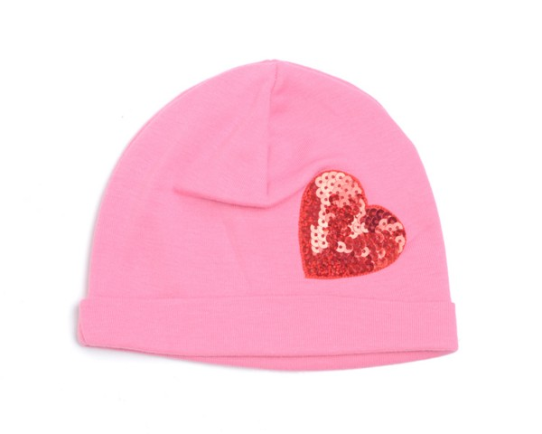 Pink & Red Valentines Sequin Heart Hat-love, heart, red, pink, hot pink, infant, baby girl, boutique, cotton hat, valentine's day, valentine