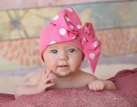 Hot Pink & White Polka Dot Messy Bow Cotton Hat-top knot baby hat, newborn top knot hat, infant, baby girl, boutique, messy bow hat, large bow, cotton hat