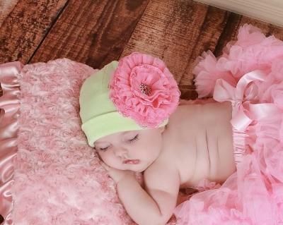 Light Aloe & Candy Pink Lace Rose Cotton Flower Hat-mint, green, hot pink, green and pink, infant, newborn, baby, girl, rhinestone, lace, flower, hat
