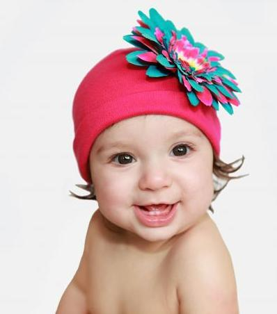Raspberry Teal Daisy Flower Hat
