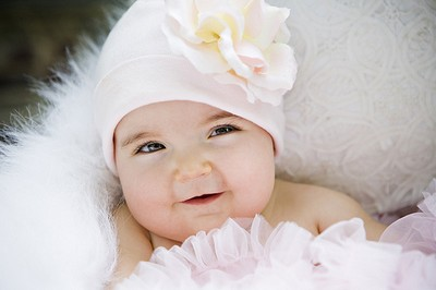 White & Pink Rose Flower Hat-infant, baby girl, boutique, newborn, soft pink, light pink, pink