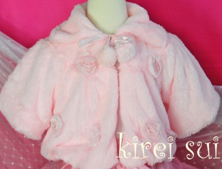 Light Pink Faux Fur Rosette Coat
