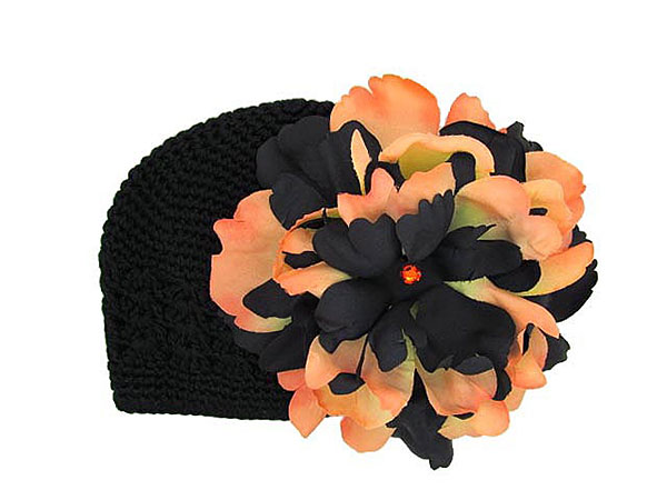 Black & Orange Peony Crochet Hat