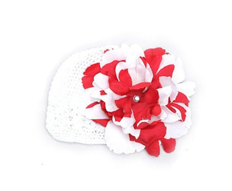 Multi Colored Red & White Crochet Flower Hat-holiday christmas, valentine, valentines, valentine's, day, infant, baby girl, boutique, flower, peony hat, beanie